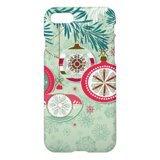 Blue & Red Retro Christmas Ornaments iPhone 7 Case