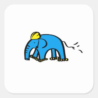 Blue Rollerblading Elephant w/ Yellow Helmet Square Sticker