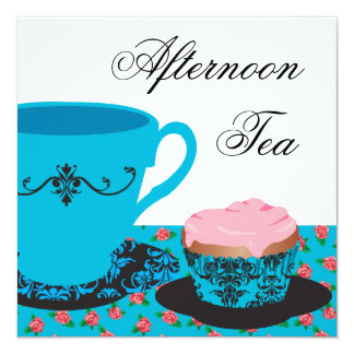 Blue Rose Afternoon Tea 13 Cm X 13 Cm Square Invitation Card
