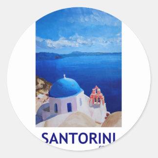 Blue Santorini, Greece - View from Oia Round Sticker