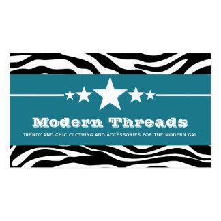 Blue Sassy Star Zebra Print Business Card