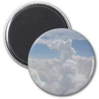 Blue Sky Nature White Puffy Cloud Formations 6 Cm Round Magnet