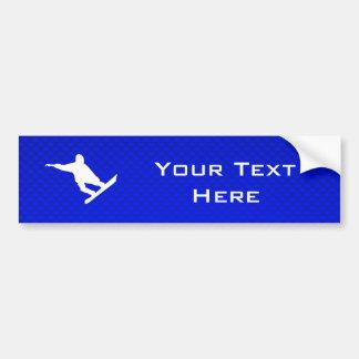 Blue Snowboarding Bumper Sticker