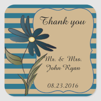 Blue Striped Flower Collection Square Sticker