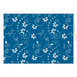 Blue Swirly Flowers Greeting Card