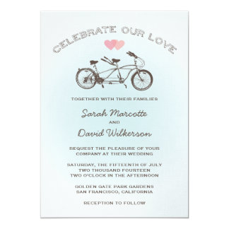 Blue Tandem Bicycle Wedding 13 Cm X 18 Cm Invitation Card