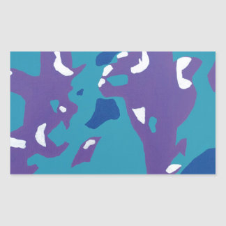 Blue, Teal, and Purple Abstract Art Rectangular Sticker
