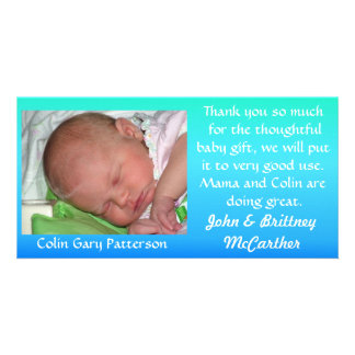 Blue to Green Gradient Baby photo thank you cards Personalised Photo Card