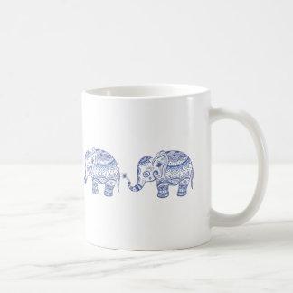 Blue Tones Glitter Floral Elephant Design Basic White Mug