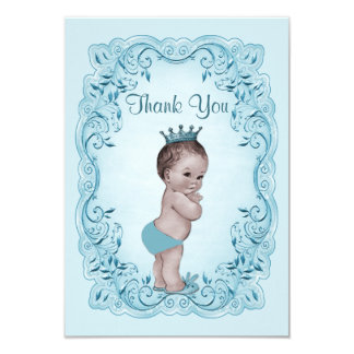 Blue Vintage Prince Baby Shower Thank You 9 Cm X 13 Cm Invitation Card