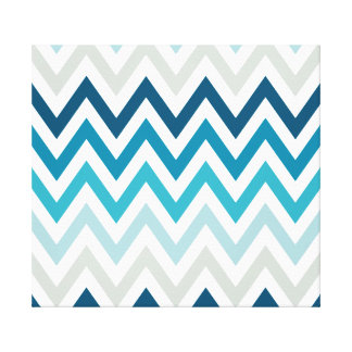 Blue White Chevron Geometric Designs Color Gallery Wrapped Canvas