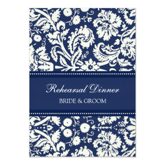 Blue White Damask Rehearsal Dinner Party 13 Cm X 18 Cm Invitation Card