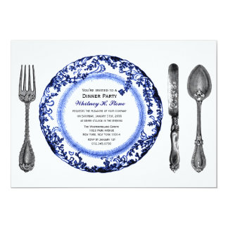 Blue White Fine Dining Dinner Party 13 Cm X 18 Cm Invitation Card