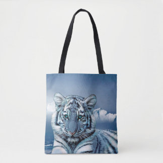 Blue White Tiger All-Over-Print Tote Bag