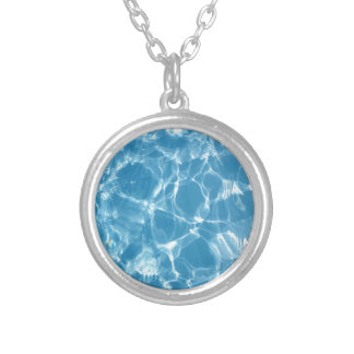 Blue White Water Top  Ripples Round Pendant Necklace
