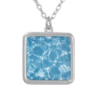 Blue White Water Top  Ripples Square Pendant Necklace
