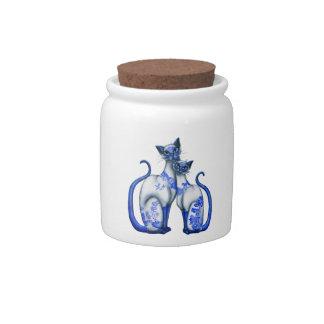Blue Willow Siamese Cats Candy Dish