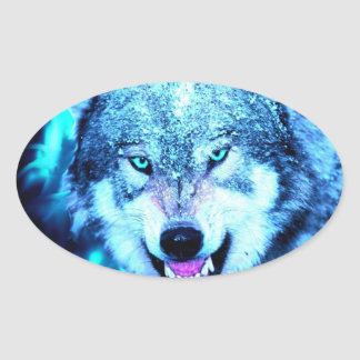 Blue wolf face oval sticker