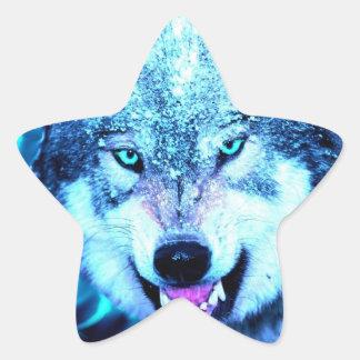 Blue wolf face star sticker