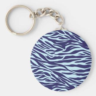 blue zebra basic round button key ring