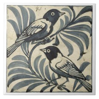 Bluebirds (w/c on paper) large square tile