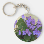 Bluest Blue Violets Basic Round Button Key Ring