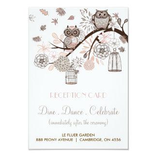 Blush and Grey Owls Wedding Reception Card 9 Cm X 13 Cm Invitation Card