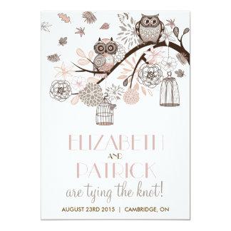 Blush & Grey Retro Owls Winter Wedding Invitation