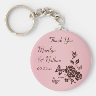 Blush Pink and Brown Floral Wedding Favor Basic Round Button Key Ring