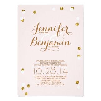 Blush pink and gold confetti modern wedding invite