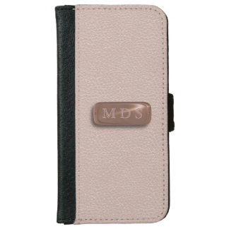 Blush Pink Faux Leather Rose Gold Nameplate iPhone 6 Wallet Case