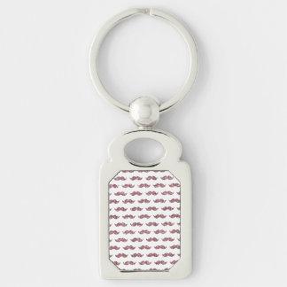 Blush Pink Glitter Mustache Pattern Silver-Colored Rectangle Key Ring