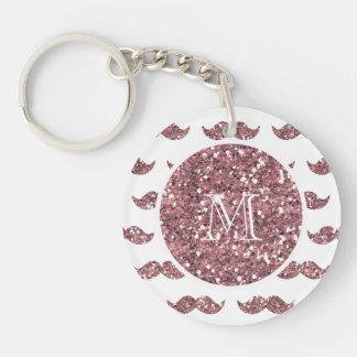 Blush Pink Glitter Mustache Pattern Your Monogram Double-Sided Round Acrylic Key Ring