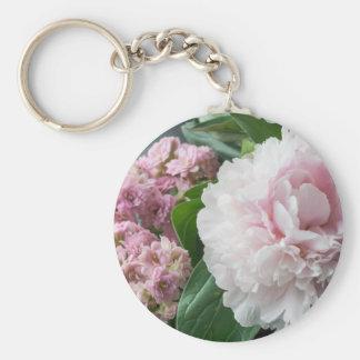 Blush Pink Peonies Basic Round Button Key Ring