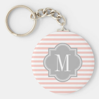 Blush Pink Stripes with Gray Monogram Basic Round Button Key Ring