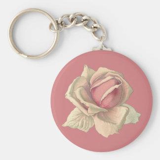 Blushing Pink Rose Basic Round Button Key Ring
