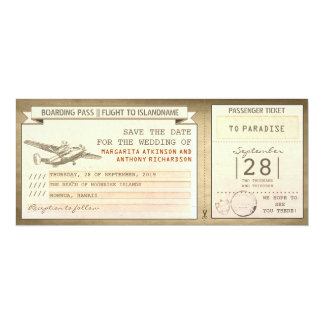 boarding pass tickets -vintage save the date 10 cm x 24 cm invitation card