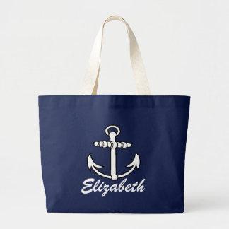 Boat Anchor & Name Jumbo Tote Bag