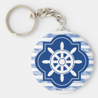 Boat Wheel Silhouette With Nautical Blue Stripes Basic Round Button Key Ring