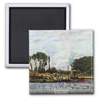 Boats At Bougival By Sisley Alfred Square Magnet