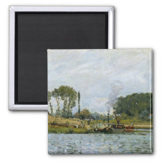 Boats at the lock at Bougival, 1873 Square Magnet