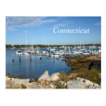 boats in a marina in Stonington, Connecticut Postcard