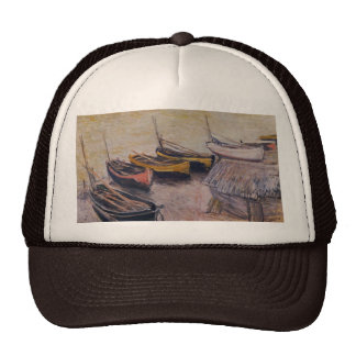 Boats on the beach by Claude Monet Cap