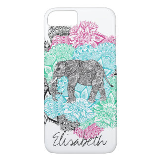 Boho paisley elephant handdrawn floral monogram iPhone 7 case