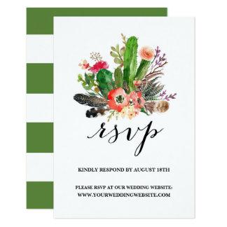 Boho Watercolor Succulents Wedding RSVP II 9 Cm X 13 Cm Invitation Card