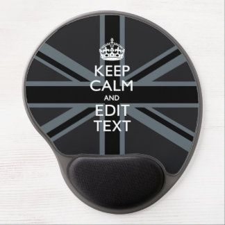 Bold Black Black  Keep Calm Your Text Union Jack Gel Mouse Pad