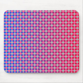 bold pink grey red and blue diamonds pattern mouse pad