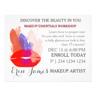 Bold Red Lips Watercolor Splashes Makeup Workshop 21.5 Cm X 28 Cm Flyer
