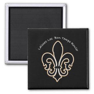 bon temps_blk square magnet