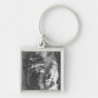 Bonnie Prince Charlie  in Hiding Silver-Colored Square Key Ring